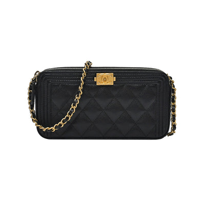Black Boy Chanel Clutch With Goldtone Chain (Rented Out)