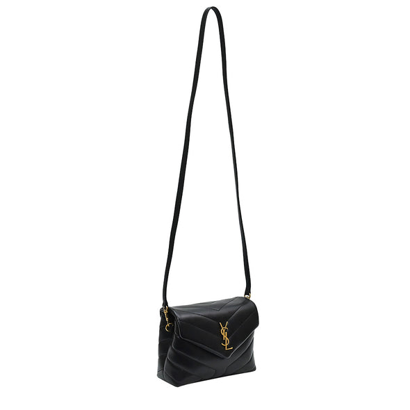 Black Matelasse Leather Loulou Toy Bag in Antique Gold Hardware (Rented Out)