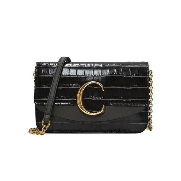 Black Croc Embossed Chloe C Clutch With Chain (Rented Out)