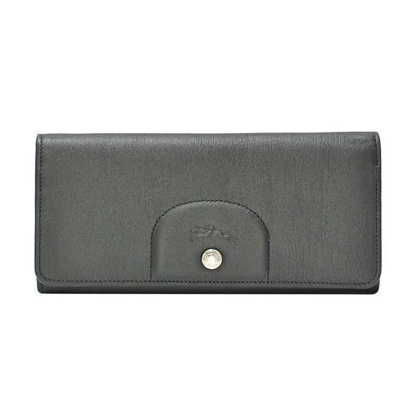 Noir Le Pliage Cuir Long Flap Wallet