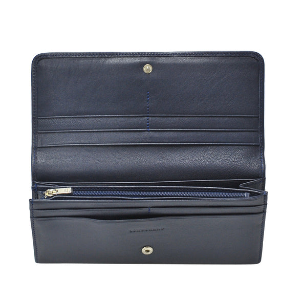 Navy Le Pliage Cuir Long Flap Wallet