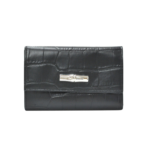 Noir Roseau Croco Medium Continental Wallet