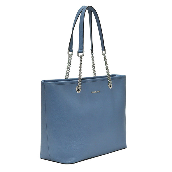 Denim Saffiano Jet Set Travel Chain Tote (Rented Out)