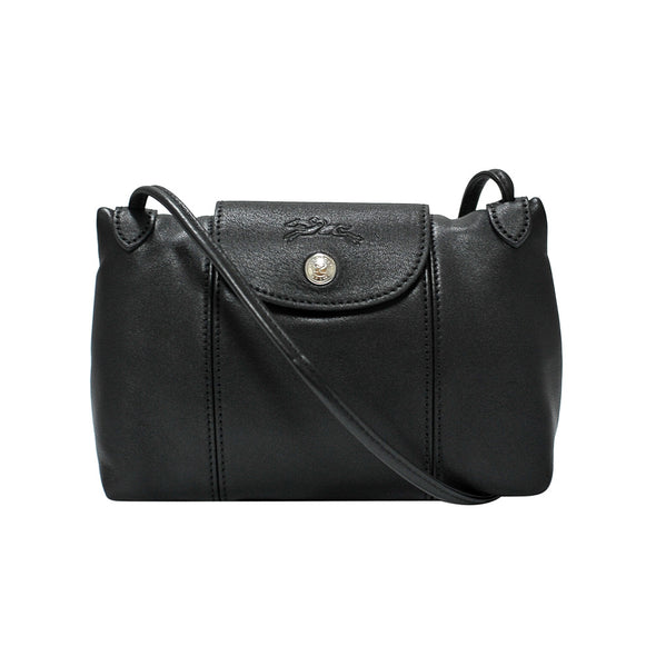 Noir Le Pliage Cuir Crossbody Bag (Silvertone Hardware)