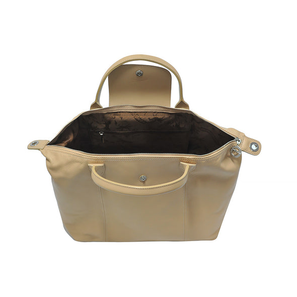 Golden Beige Le Pliage Cuir Medium Shopping Tote - 2 (Rent Out)