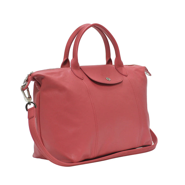 Peony Le Pliage Cuir Medium Shopping Tote
