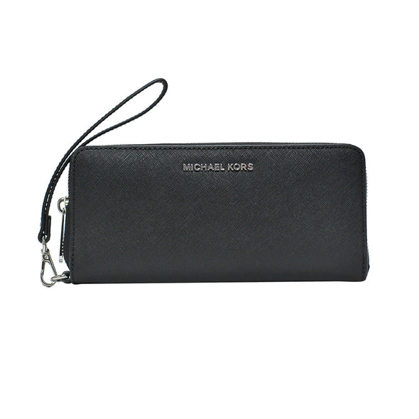 Black Jet Set Saffiano Continental Wallet (Silver)
