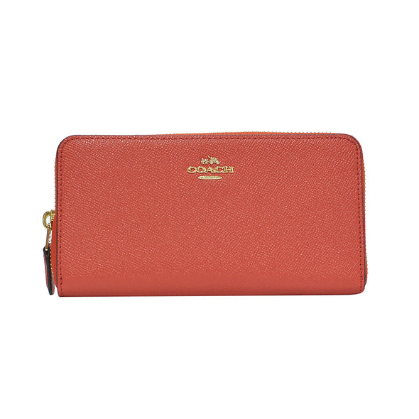 Deep Coral Accordion Crossgrain Leather Zip Wallet