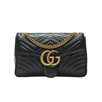 Nero GG Marmont Medium Matelasse Shoulder Bag (Rented Out)