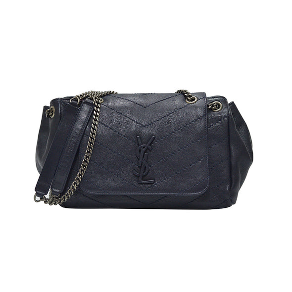 Navy Chevron Leather Nolita Shoulder Bag (Rented Out)