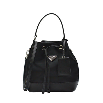 Nero Tessuto Saffiano Leather Bucket Bag
