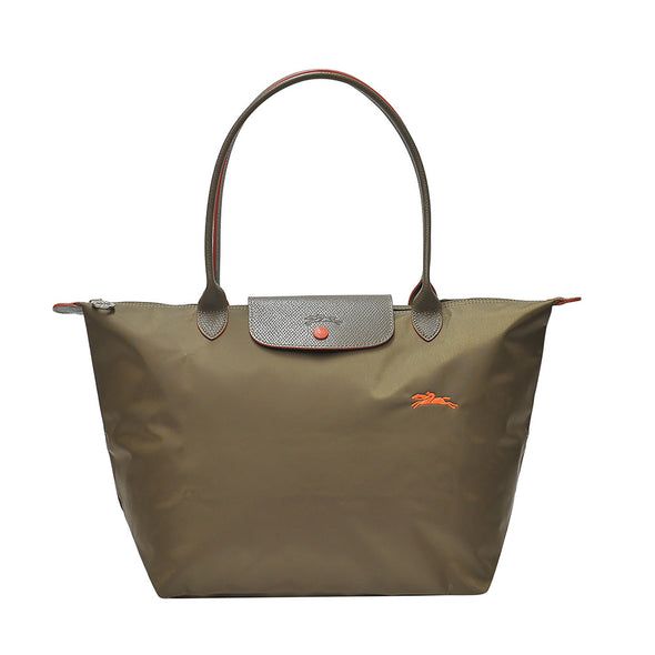 Khaki Le Pliage Club Tote Bag L