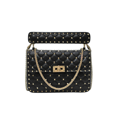Black Rockstud Spike Medium Shoulder Bag (Rented Out)