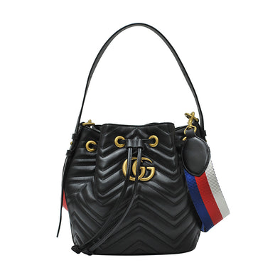 Nero GG Marmont Matelasse Bucket Bag (20% Rental Promotion)