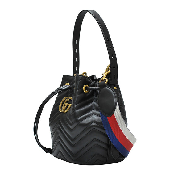 Nero GG Marmont Matelasse Bucket Bag (Rented Out)