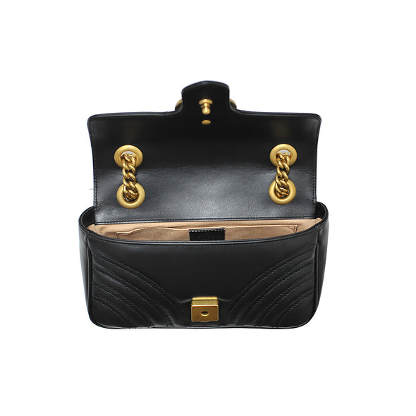 Nero GG Marmont Mini Matelasse Shoulder Bag (Rented Out)
