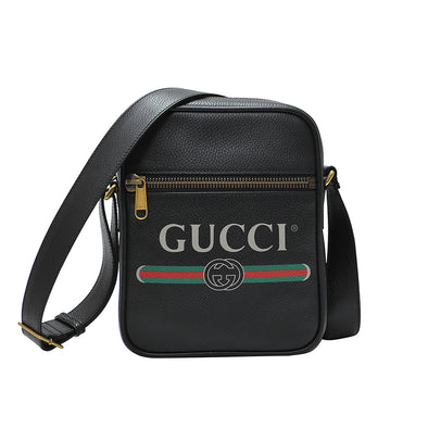 Black Gucci Print Leather Messenger Bag (Rented Out)