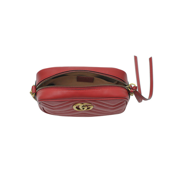 Rosso GG Marmont Chevron Leather Camera Bag - 2 (Rented Out)