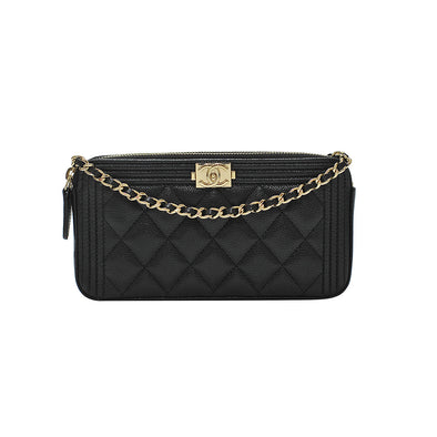 Black Boy Chanel Clutch With Shiny Goldtone Chain (Rented Out)