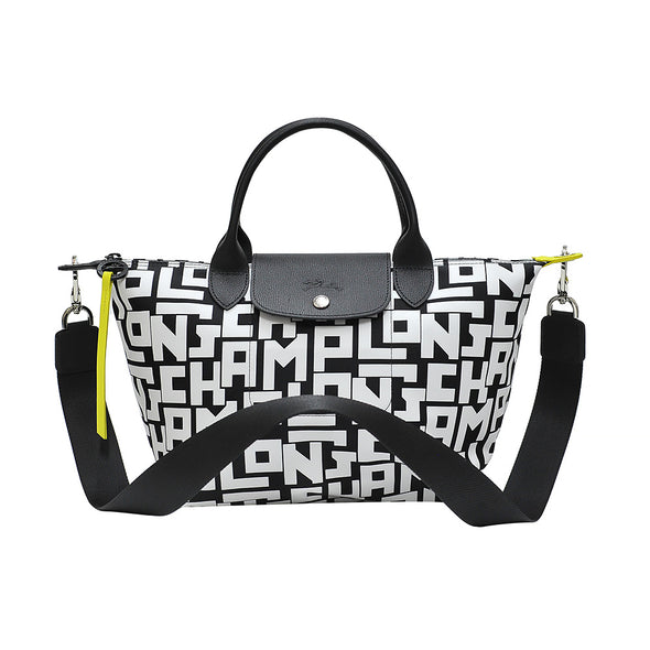 Black White Le Pliage LGP Top Handle S