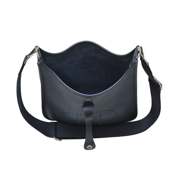 Blue Clemence Leather Evelyne III PM Shoulder Bag (Rented Out)
