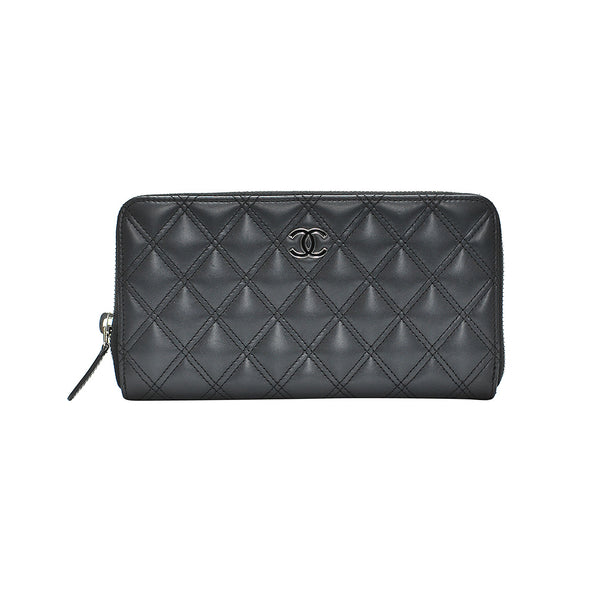 Black Nappa Zip Around Wallet (Rented Out)