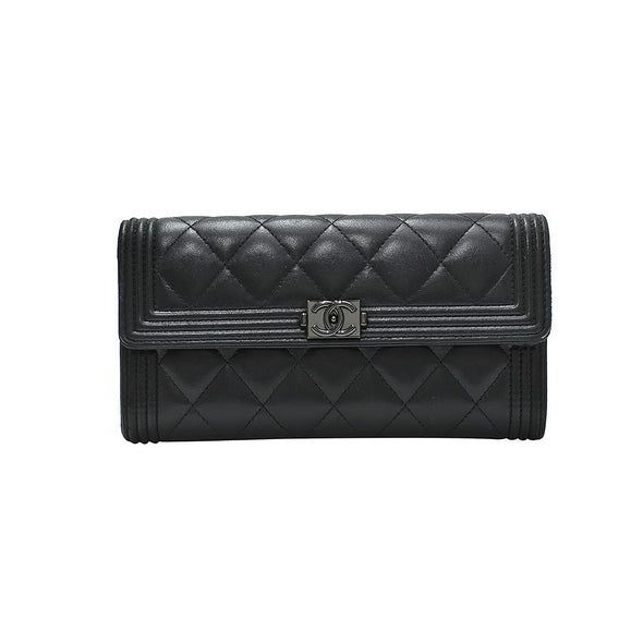 Black Nappa Boy Chanel Flap Wallet (Rented Out)