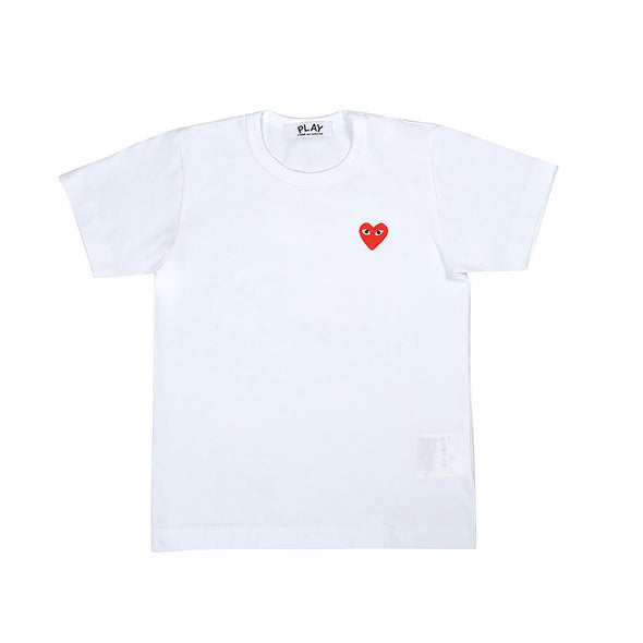CDG Play Red Heart Logo White Tee (Women)