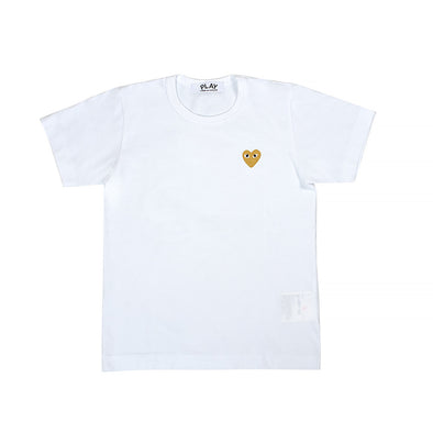 CDG Play Gold Heart Logo White Tee (Women)