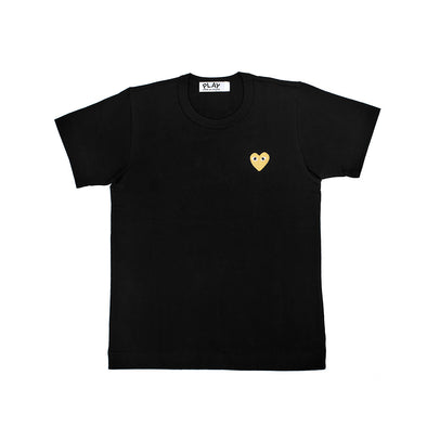 CDG Play Gold Heart Logo Black Tee (Women)