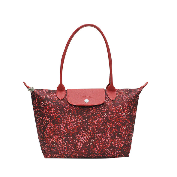 Red le Pliage Fleurs Bag S