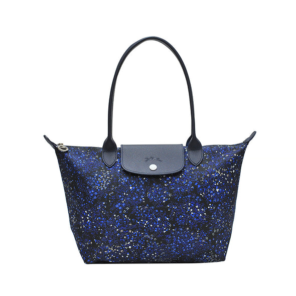 Blue Le Pliage Fleurs Bag S