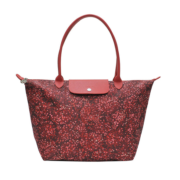 Red Le Pliage Fleurs Shoulder Bag L