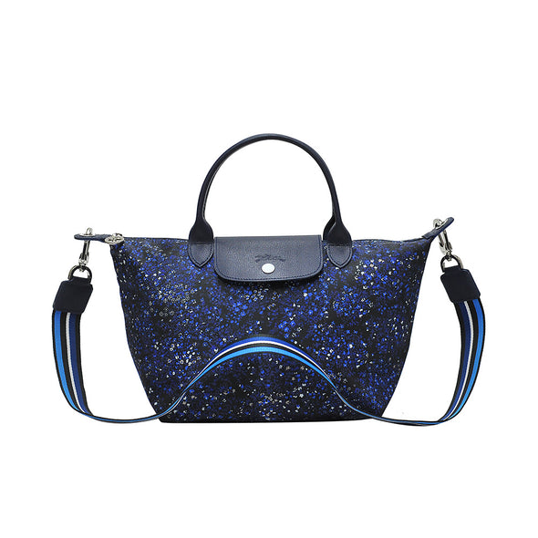 Blue Le Pliage Fleurs Top Handle Bag