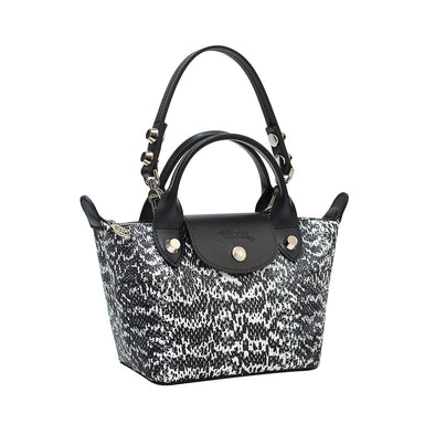 Water Snake-Effect Cowhide Le Mini Pliage Cuir - 2