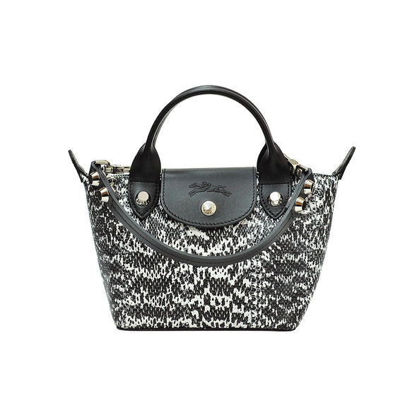 Water Snake-Effect Cowhide Le Mini Pliage Cuir