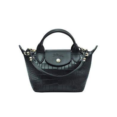 Croc-Effect Cowhide Le Mini Pliage Cuir