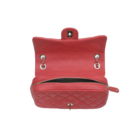Fuchsia Caviar Flap Shoulder Bag (Rented Out)