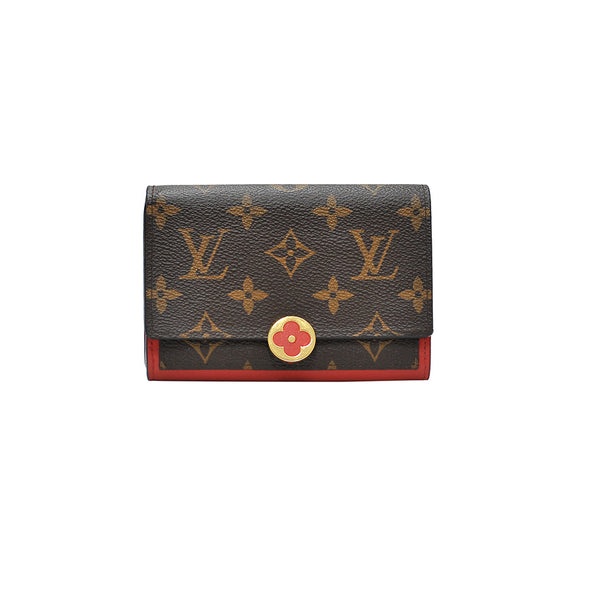 Coquelicot Monogram Canvas Flore Compact Wallet (Rented Out)