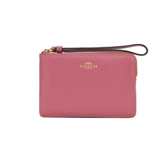 Rouge Leather Corner Zip Small Wristlet