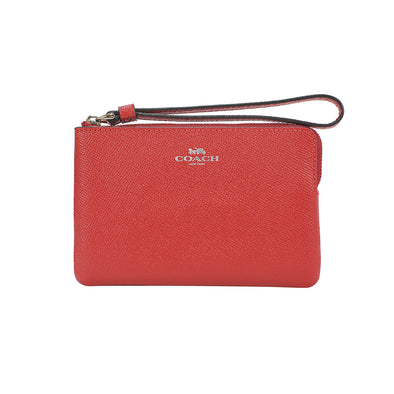 Bright Cardinal Leather Corner Zip Small Wristlet
