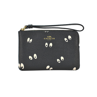 Black Leather Disney Spooky Eyes Corner Zip Wristlet