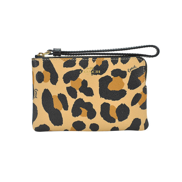 Natural Animal Printed Leather Corner Zip Wristlet