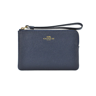 Midnight Leather Corner Zip Small Wristlet