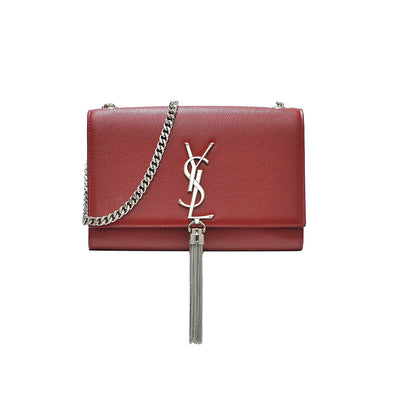 Red Textured Leather Small Kate Clutch With Tassels