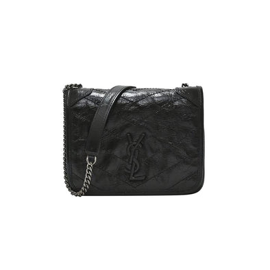 Black Niki Vintage Leather Chain Wallet (Rented Out)