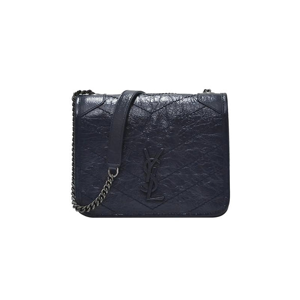 Navy Niki Vintage Leather Chain Wallet (1+1 Promotion)