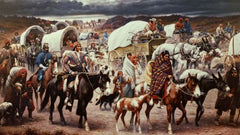 vintage picture depicting the Choctaw Tribe of Native Americans 1837 infamous  500 mile trail of tears march to Oklahoma