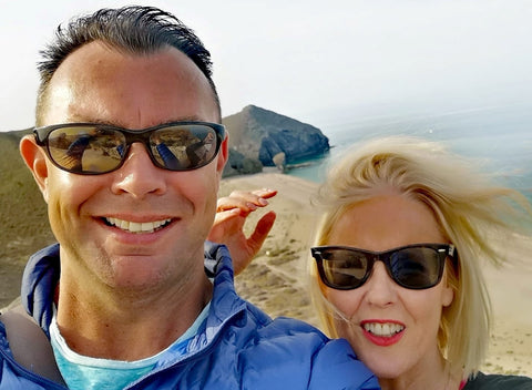 Selfie of Jen and Geoff of JTEESinc Mojacar against the backdrop of playa de los Muertos beach Almeria Andalucia Spain