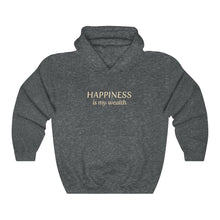 Load image into Gallery viewer, JTEESinc Happiness HipHop style hoodie in heather grey with gold print. Classic adults fit crew neck and soft fleece lining